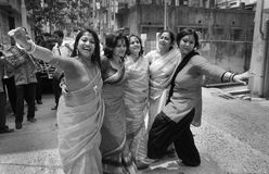 Funny Moment. A Bengali family making fun with dance during the pre-wedding royalty free stock photography