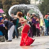 Funny Moment In Performance Of Water Festival, Beijing Stock Image