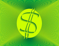 Funny Money. Dollar sign on luminous green background Royalty Free Stock Photos
