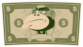 Funny Money - Cartoon US Dollar. Illustration of a cartoon american US dollar bill, with monkey businessman inside Royalty Free Stock Image