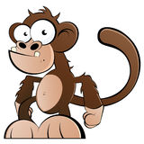 Funny Monkey. An illustrated cartoon of a funny monkey, isolated on a white background Royalty Free Stock Images