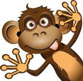 Funny monkey. Illustration a brown monkey on a white background Stock Image