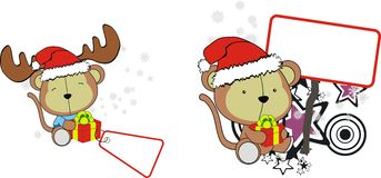 Funny monkey baby xmas cartoon set Stock Photo