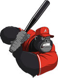 Funny monkey ballplayer. Vector illustration, funny gorilla with a baseball bat Stock Photography