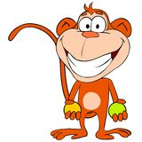 Funny monkey with balls Royalty Free Stock Photo