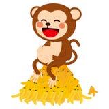 Funny Monkey With Banana Peels Stock Photos