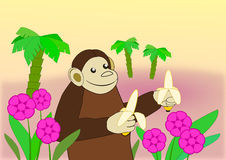 Funny Monkey with Bananas. Royalty Free Stock Images