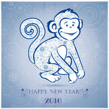Funny monkey on blue background 3 Royalty Free Stock Photography