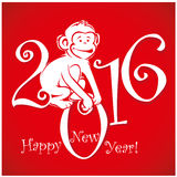 Funny monkey on bright red background 2. Funny monkey on bright red background and Happy new year 2016. Chinese symbol vector monkey 2016 year illustration image Royalty Free Stock Photography