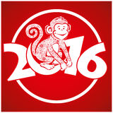 Funny monkey on bright red background 5 Royalty Free Stock Images