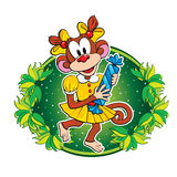 Funny monkey with a candy. Vector character. Stock Images