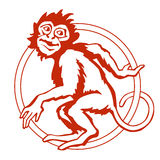 Funny monkey with the circus ring. Vector illustration stock images