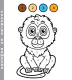 Funny monkey coloring game. Royalty Free Stock Images