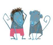 Funny Monkey Couple Hand Drawn Animal Cartoon for Royalty Free Stock Photos