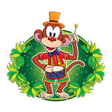 Funny monkey with a drum. Vector character. Stock Photo