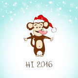 Funny Monkey Enjoy The First Snow. Hand drawn funny monkey enjoy the first snow. Symbol of the New Year 2016. New Year and Christmas greeting card Royalty Free Stock Images
