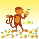 Funny monkey gather apples. For design vector illustration