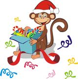 Funny monkey with gift box. Funny monkey in red cap sitting with gift box. Celebrating holidays New Year and Christmas. Symbol 2016. Vector illustration stock illustration
