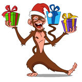 Funny monkey with gifts. Vector Stock Images