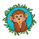 Funny monkey girl shy. As part of the leaf Royalty Free Stock Image