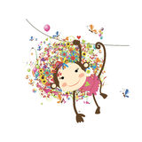 Funny monkey girl for your design Stock Image