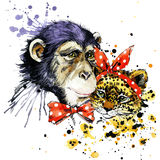 Funny monkey, leopard, watercolor background Royalty Free Stock Photo