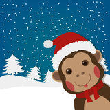 Funny monkey, new year and  christmas greeting card, cartoon character illustration Royalty Free Stock Photography