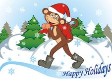 Funny monkey with red bag. Funny monkey  in red cap with red bag. Celebrating holidays New Year and Christmas. Symbol 2016. Vector illustration Royalty Free Stock Images