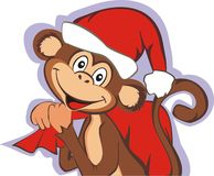 Funny monkey with red bag. Funny monkey  in red  cap with bag. Celebrating holidays New Year and Christmas. Symbol 2016. Vector illustration Stock Photo