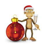 Funny monkey. With a santa hat and a glass of wine and watch in the shape of a ball indicating the approach of the new year vector illustration