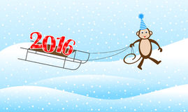 Funny monkey on a sled driven by numbers 2016. Vector illustration Royalty Free Stock Photography