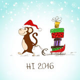 Funny Monkey With Sledge Full Of Presents. Stock Image