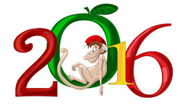 Funny monkey symbol of 2016 Stock Photo