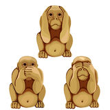 Funny monkey in three poses for animations. Vector Royalty Free Stock Photo