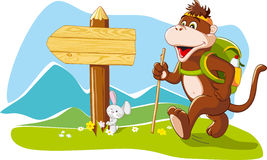 Funny monkey tourist hiking mountains, cartoon ill. Funny cartoon monkey tourist hiking mountains, wooden signboard, copy space. Vector illustration vector illustration