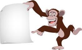 Funny monkey. Vector illustration, funny chimpanzee on a white background, cartoon Stock Photo