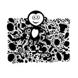 Funny monkey for your design. Vector illustration Royalty Free Stock Images