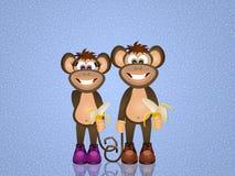 Funny monkeys with banana Stock Photography