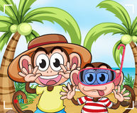 Funny monkeys at the beach Royalty Free Stock Photos