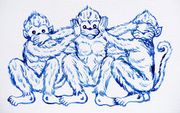 Funny 3 monkeys concept, watercolor painting illustration design Stock Images