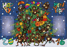 Funny monkeys greeted the new year. Twelve cheerful monkeys greeted the new year royalty free illustration