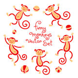 Funny monkeys vector isolated set of illustrations Stock Photography