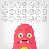Funny Monster. Cartoon Character Funny Monster. Vector Illustration. EPS 10 Stock Images