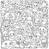 Funny monster animal group hand drawn vector drawing illustration Royalty Free Stock Images