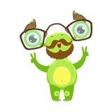 Funny Monster With Beard和玻璃,绿色外籍人Emoji漫画人物贴纸教授 免版税库存照片