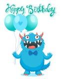 Funny Monster Birthday Greeting Card. Birthday Monster Theme. Stock Photo