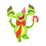 Funny Monster At Birthday Party With Bow Tie And Gift, Green Alien Emoji Cartoon Character Sticker Stock Image