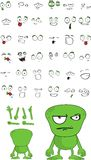 Funny monster cartoon expressions set Stock Photo