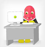 Funny Monster. Clerk. Cartoon Character Funny Monster Isolated on Grey Gradient Background. Clerk. Vector EPS 10 Stock Photography