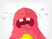 Funny Monster. Cry. Cartoon Character Funny Monster on Grey Gradient Background. Cry. Vector EPS 10 stock illustration